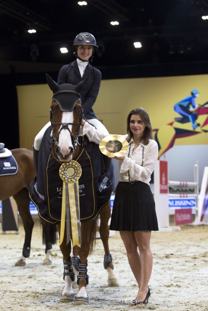 Photo by Katie Jones/REX Shutterstock (2864878a) Eve Jobs, Ecuries d'Ecaussinnes Trophy, Prize Giving Ceremony Longines Masters, Day 1, Los Angeles, America - 01 Oct 2015