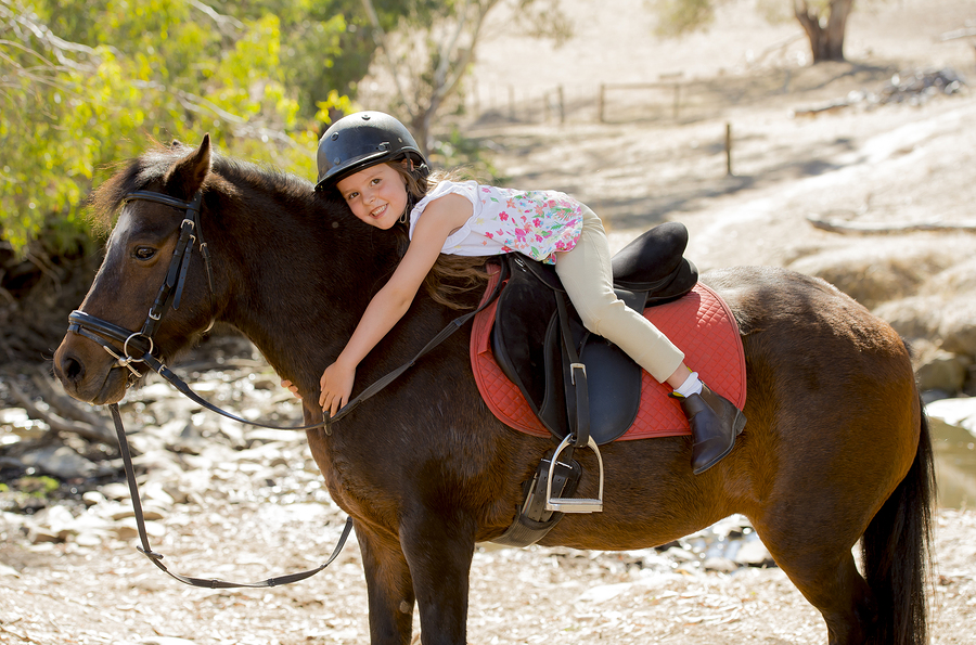 Sweet Young Girl Hugging Pony Horse Smiling Happy Wearing Safety